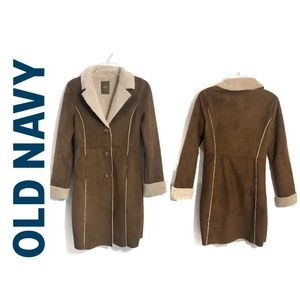 Old Navy Sherpa Tan Suede Long Lined Coat